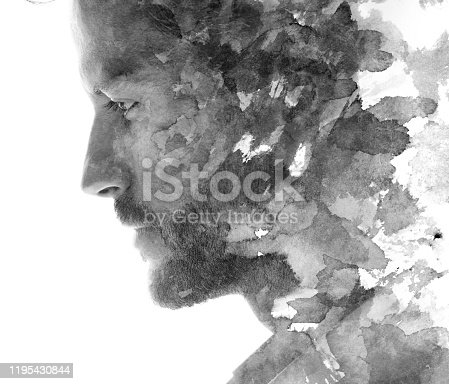 istock Paintography portrait of a young man 1195430844