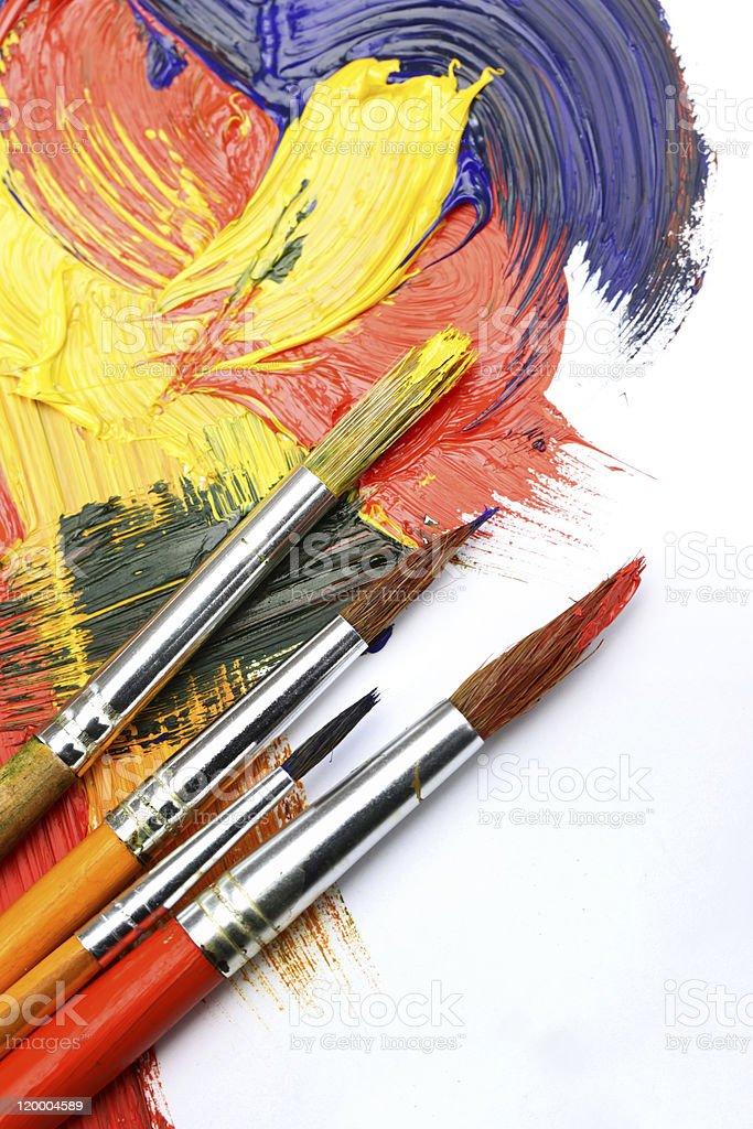Paints and brushes stock photo
