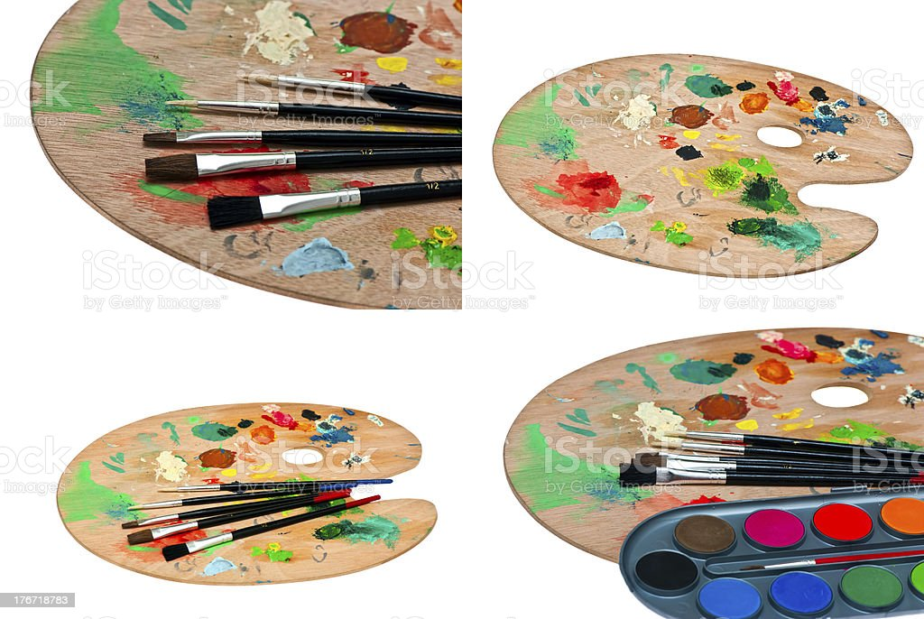 paints and paint brushes royalty-free stock photo