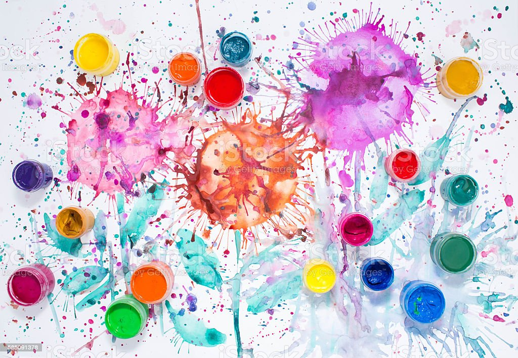 Paints and watercolor painted background. stock photo