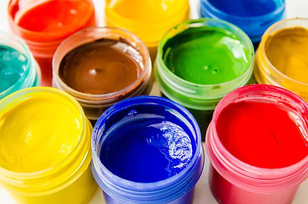 farben gouache - bemalte tontöpfe stock-fotos und bilder