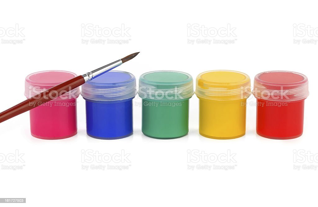 paints of different colors and slim paintbrush (brush) stock photo