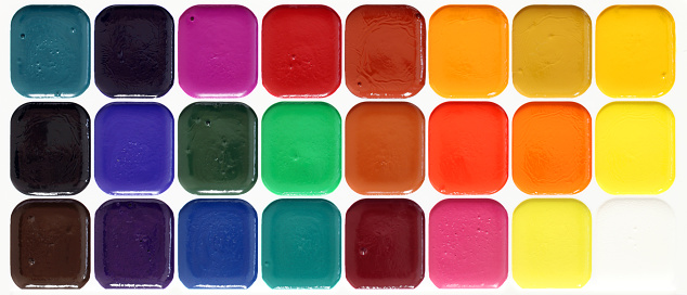 Multi-colored paints.