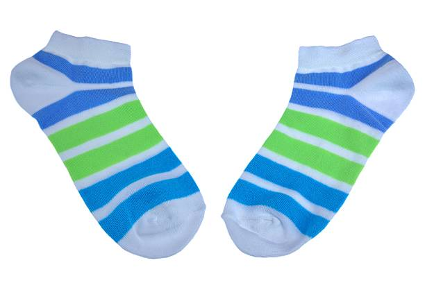 Pair Green And Blue Striped Ladies Socks stock photo