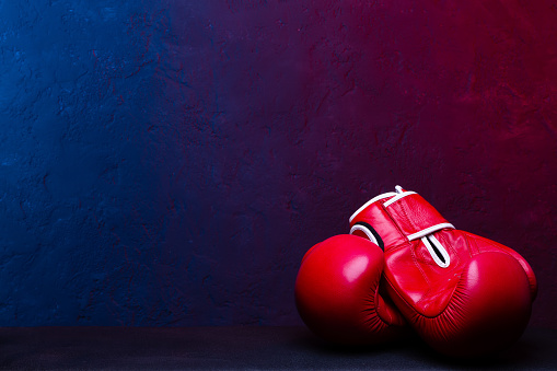 Pair leather boxing gloves. Poster design.