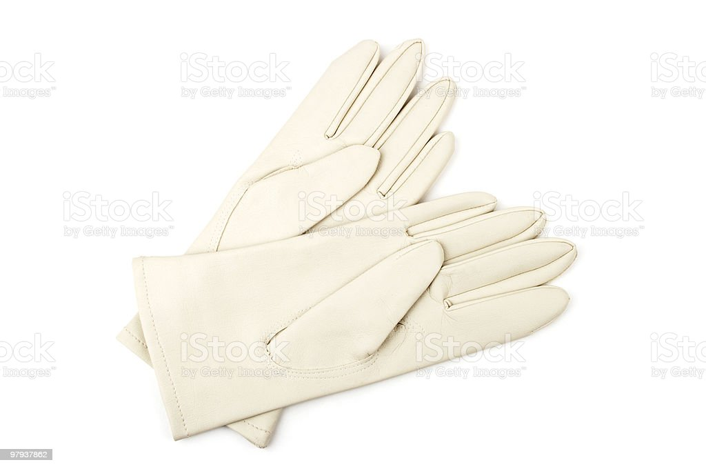 Pair Of 1950s Ladies White Leather Gloves royalty-free stock photo