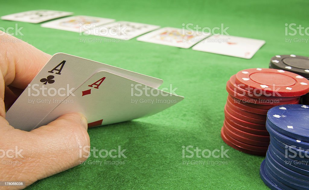Pair of aces in a hand stock photo