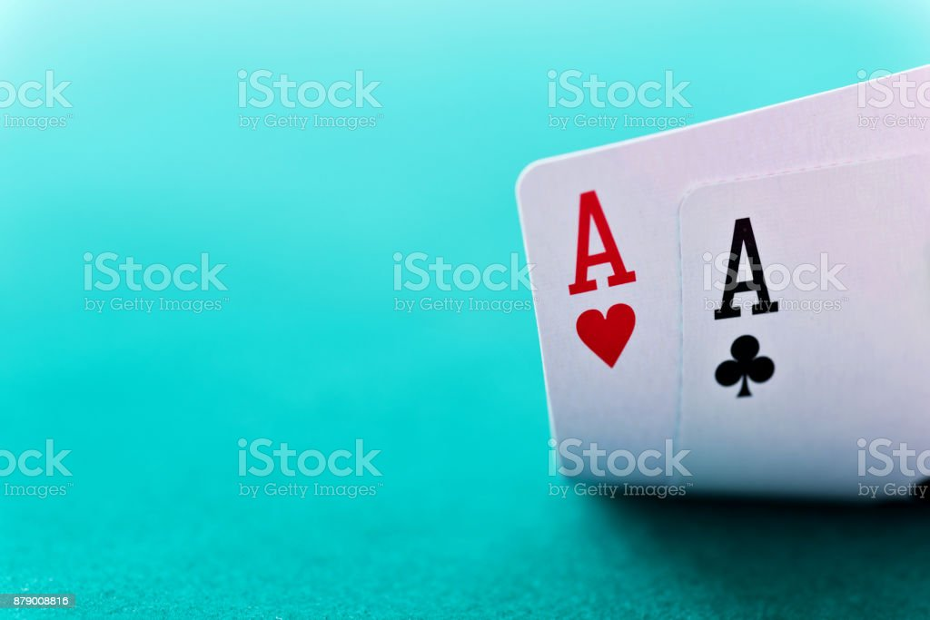 Pair of aces on table. stock photo