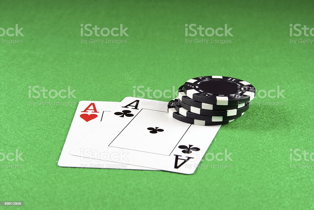 Pair of Aces with Poker chips royalty-free stock photo