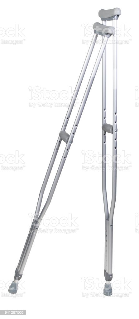 A pair of aluminum crutches isolated on white stock photo