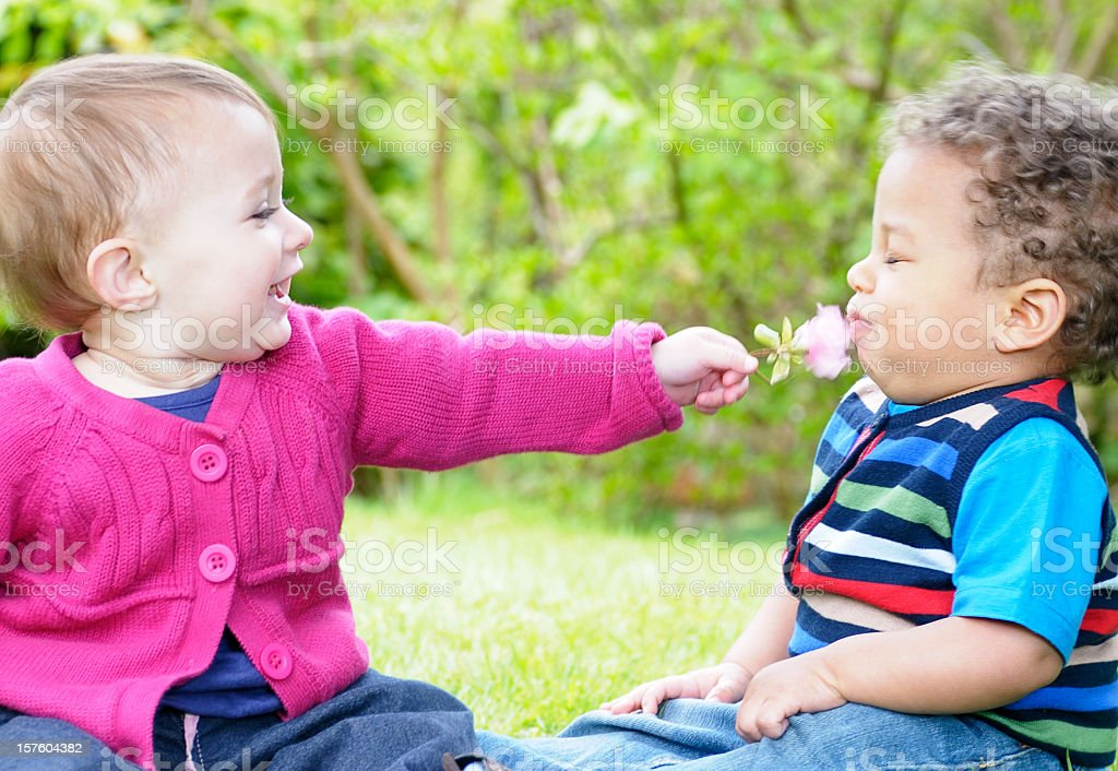 Pair Of Babies Playing With A Flower In The Park royalty-free stock photo