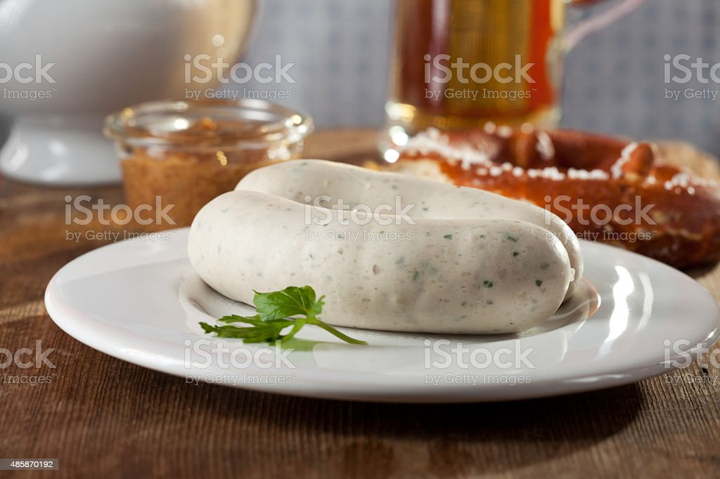 pair of bavarian white sausages stock photo