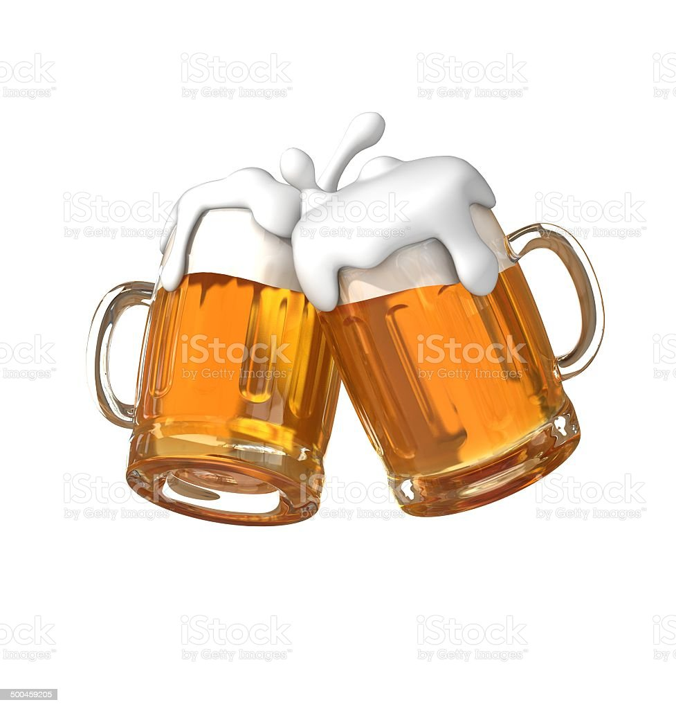 Pair of beer glasses making a toast stock photo