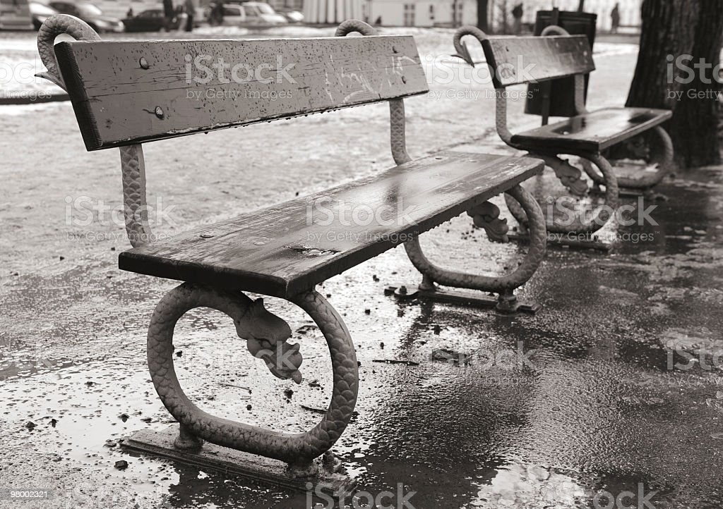 Pair of benches royalty free stockfoto