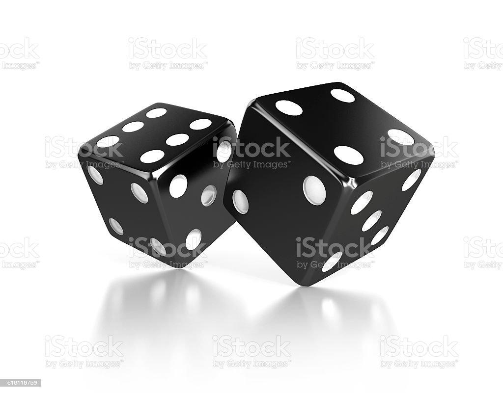 pair of black dices stock photo