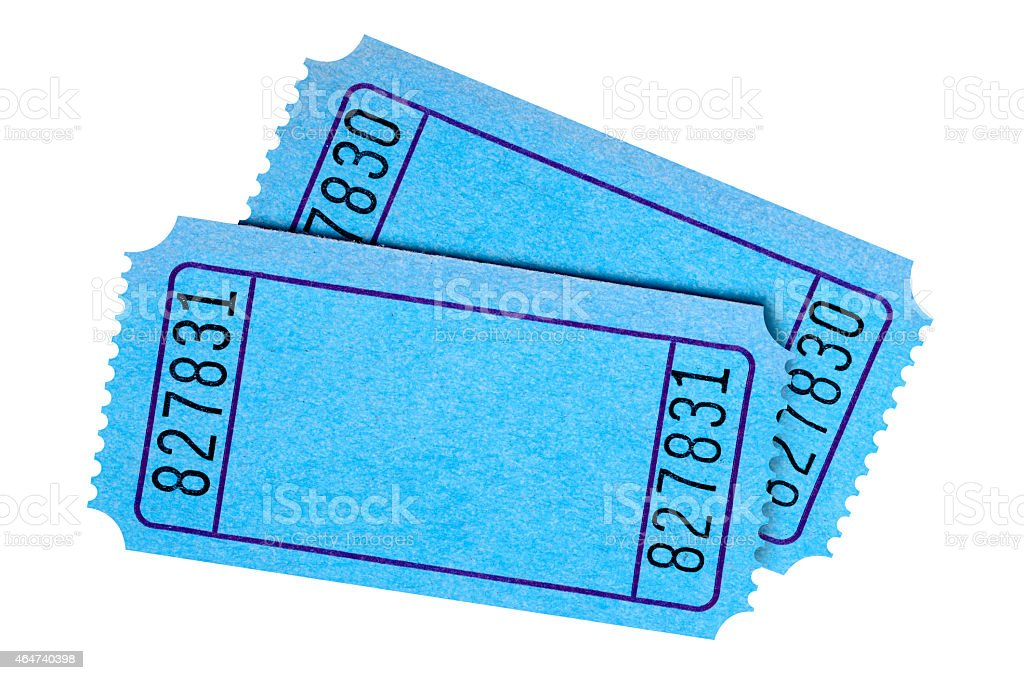 pair of blank blue movie or raffle tickets stock photo more