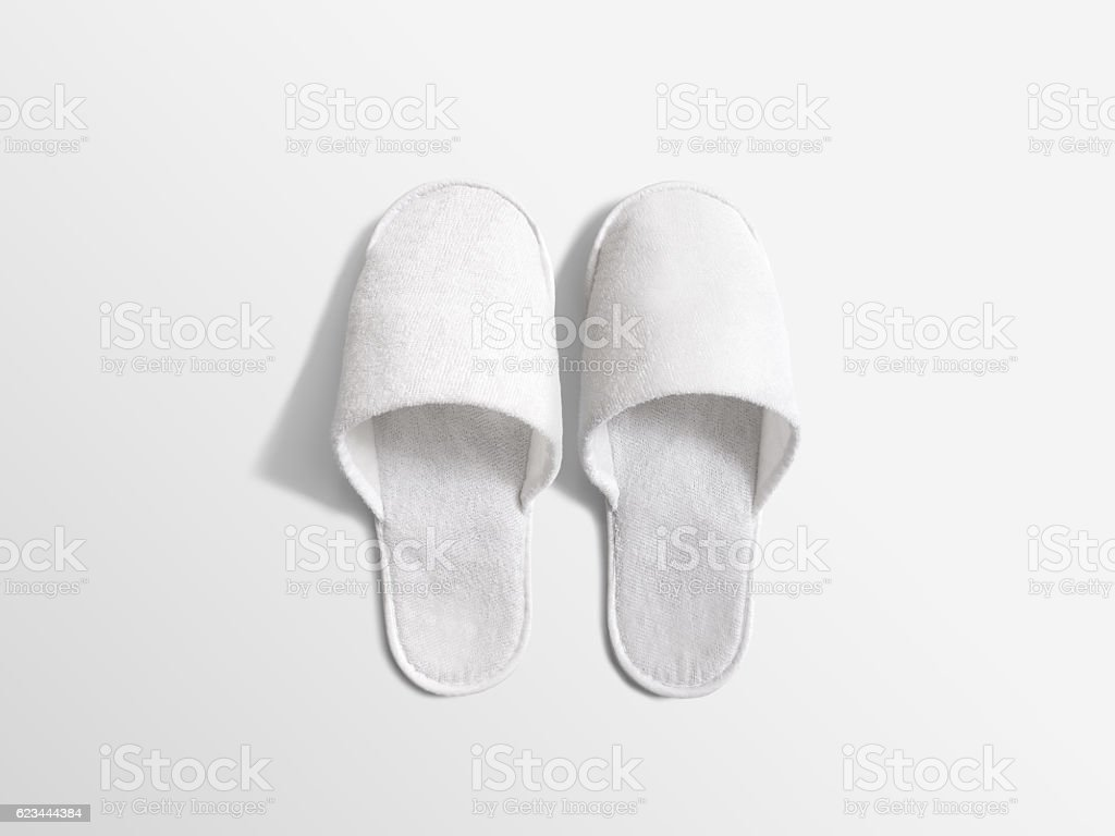 Pair of blank soft white home slippers, design mockup – Foto