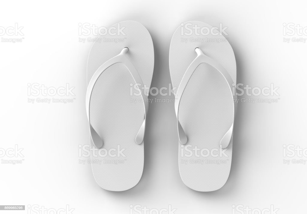Pair Of Blank White Beach Slippers Design Mock Up Clipping