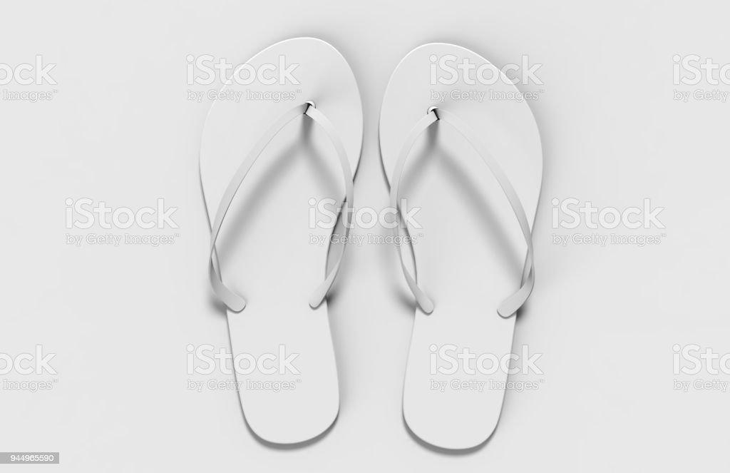 Pair Of Blank White Beach Women Slippers Design Mock Up
