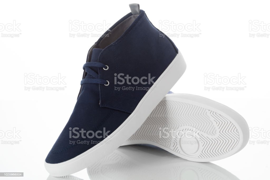 010ee8c013b Pair Of Blue Fashion Mens Shoes With Side View Profile Isolated On ...