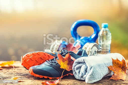 Pair of blue sport shoes water and  dumbbells laid on a wooden board in a tree autumn alley with maple leaves -  accessories for run exercise or workout activity.