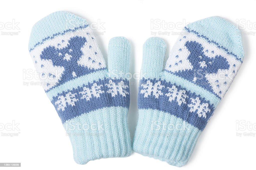 A pair of blue teddy bear boys' mittens stock photo