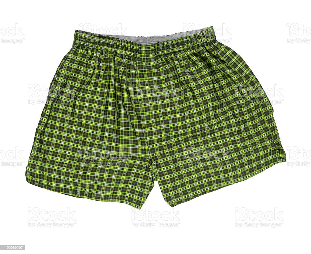 pair of boxer shorts isolated on white background stock photo