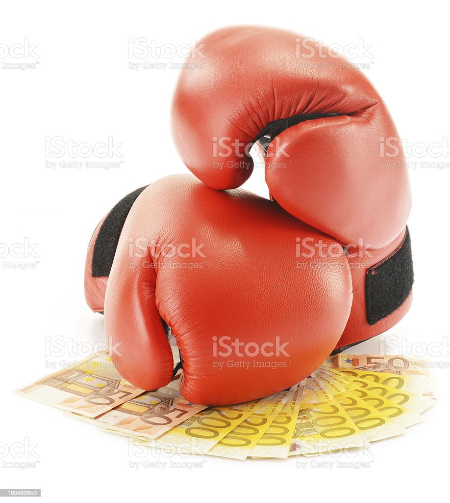Pair of boxing gloves and euro banknotes isolated on white royalty-free stock photo
