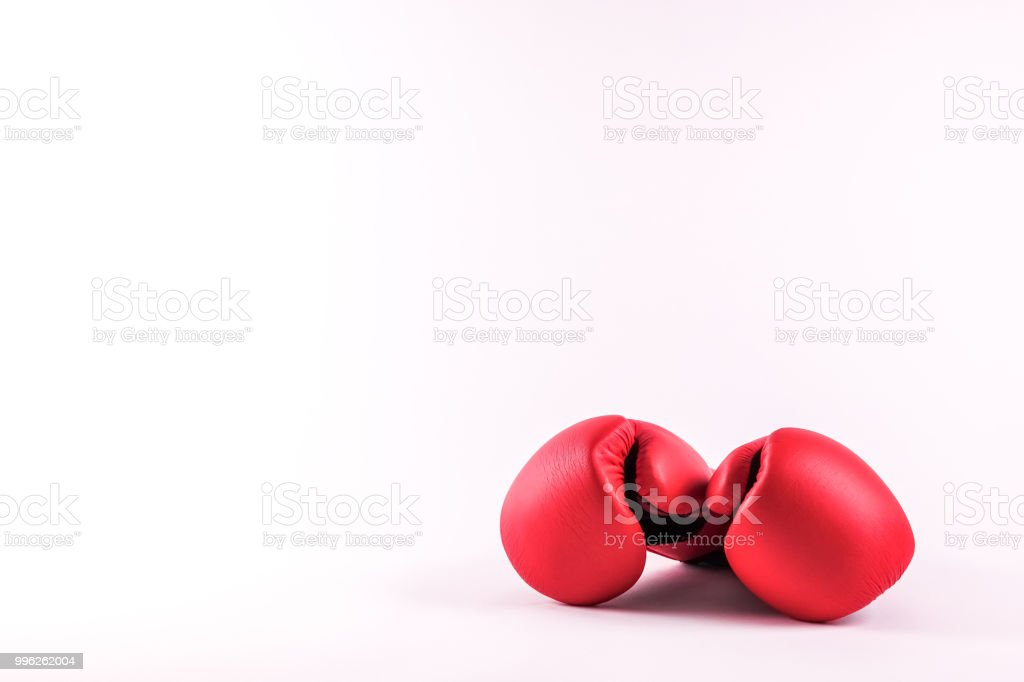 A pair of boxing gloves stock photo