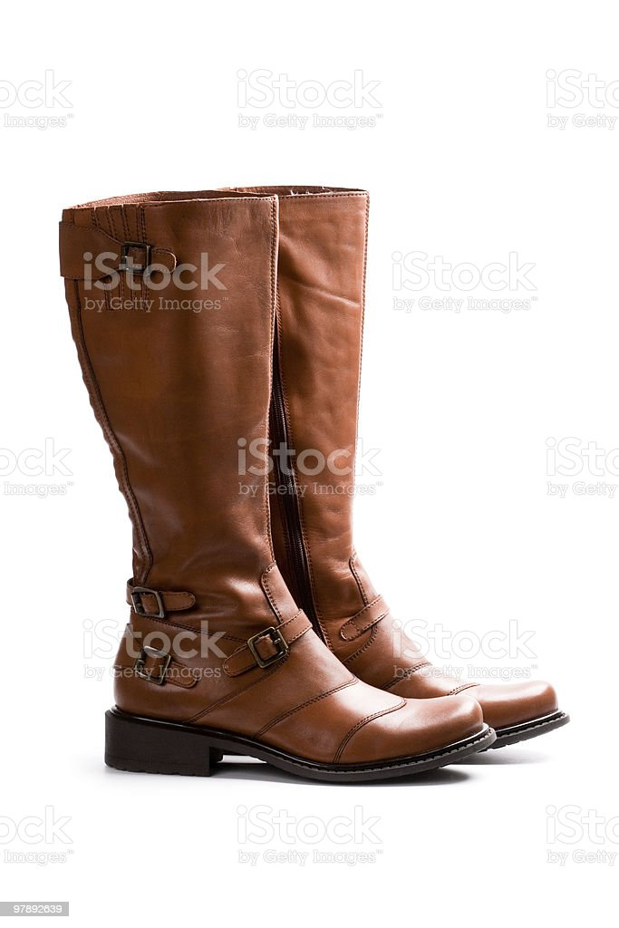 pair of brown boots royalty-free stock photo