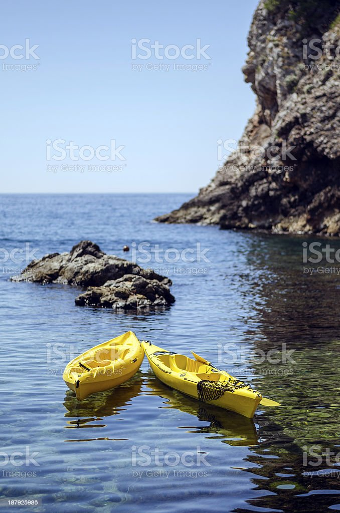 Pair of canoes stock photo