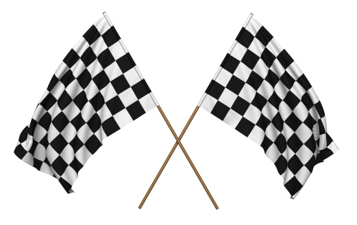 3D rendering of a checkered flags. Clipping path included.