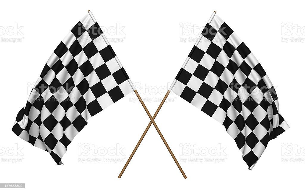 A pair of checkered flags that could be used for racing stock photo