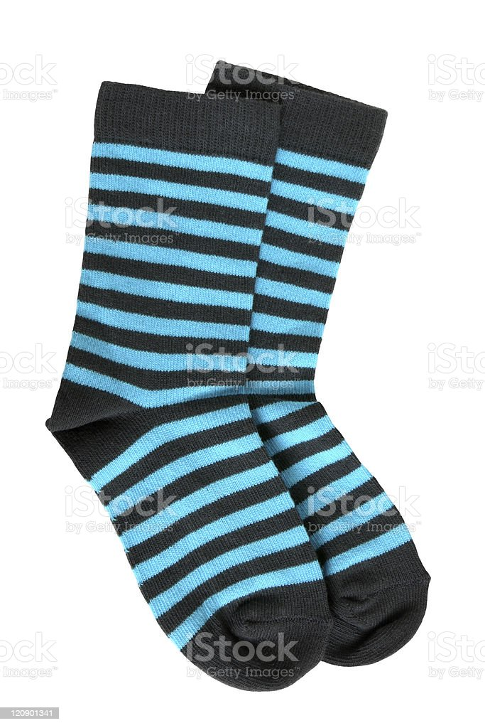 Pair of child's striped socks stock photo