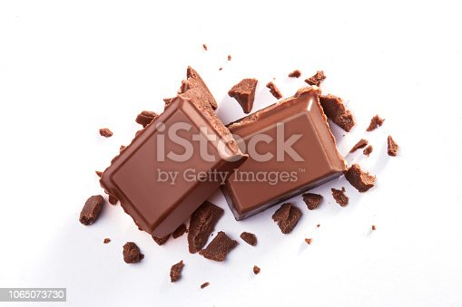 Pair of chocolate bars isolated on a white background viewed from above. Top view
