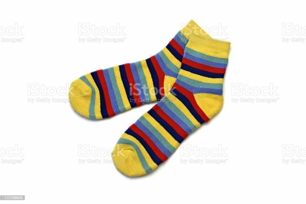 A pair of colorful striped socks royalty-free stock photo