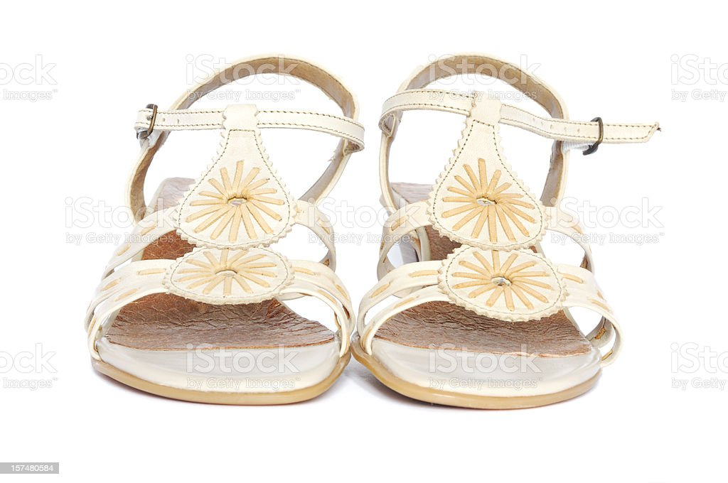 pair of cream sandals royalty-free stock photo