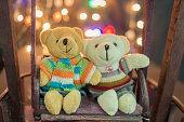 istock Pair of cute teddies sitting on wood swing bokeh background. 504043128