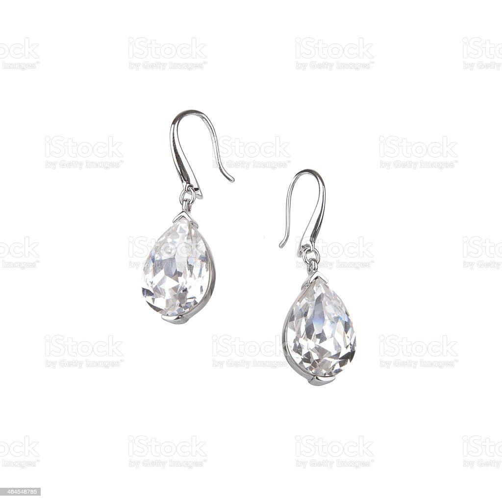 Pair of diamond earrings stock photo