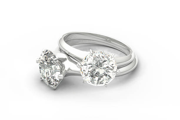 Pair of Diamond Rings, isolated on White Background stock photo