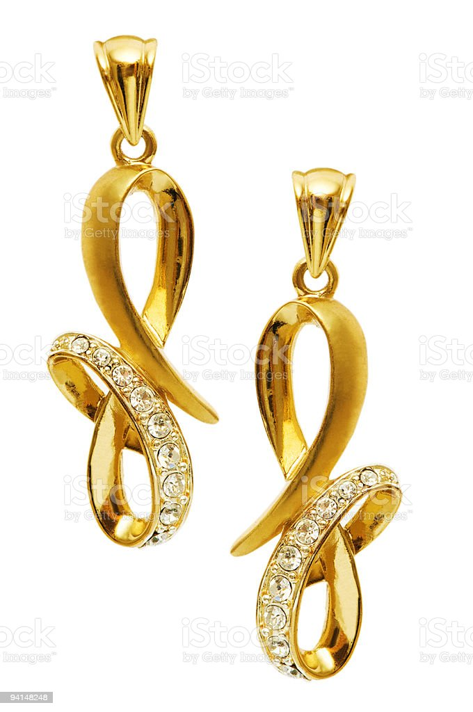 Pair of earrings isolated on the white background stock photo