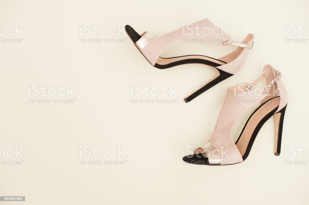 Pair Of Elegant Woman Sandals On White Background stock photo