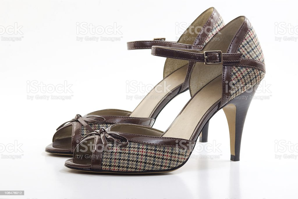 Pair of fabric high heel shoes royalty-free stock photo