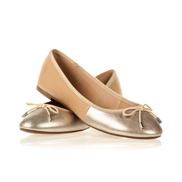 pair of flats in the fashionable colors nude and metallic - flat shoe stock photos and pictures