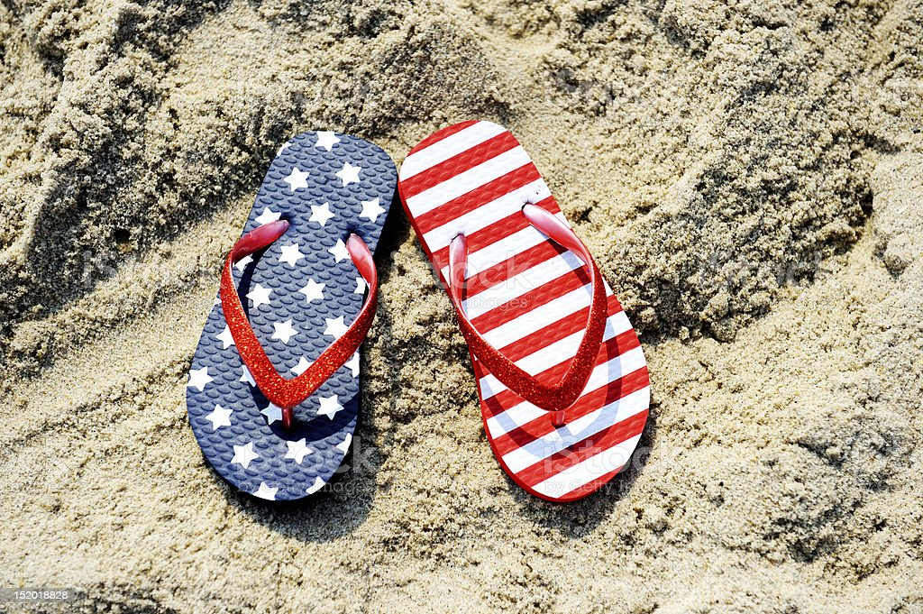 Pair of flip-flop with USA flag pattern stock photo