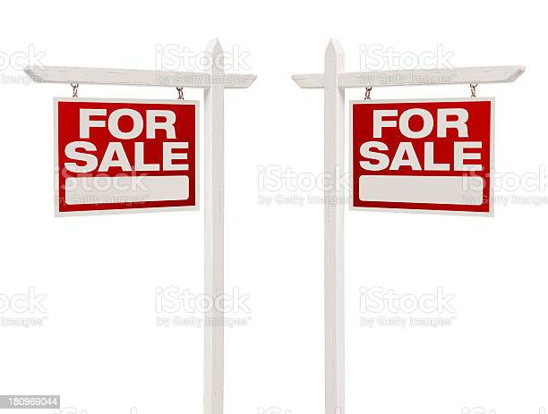 Pair of for sale real estate signs with clipping path picture id180969044?b=1&k=6&m=180969044&s=612x612&h=tofg xsthaohtz94isptg4mdkkgzhmgi0pzzw3scnpe=