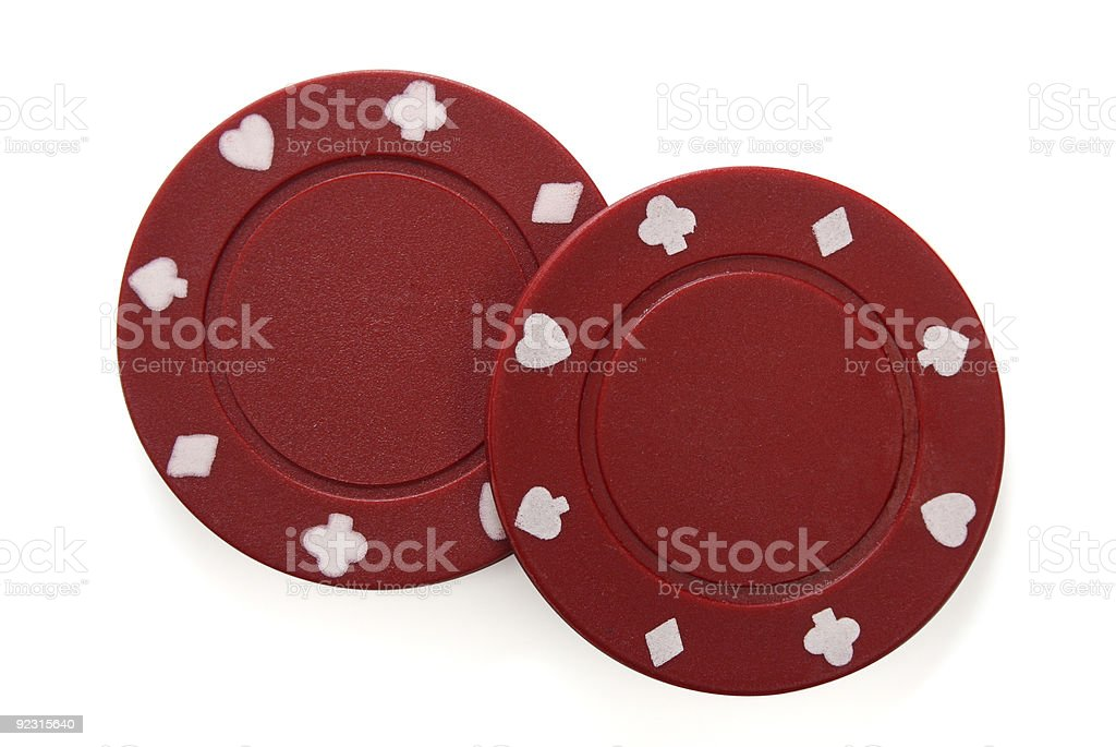 Pair of gambling chips with clipping path royalty-free stock photo