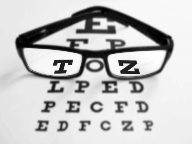 ett par glasögon och öga testbild - investigating eye bildbanksfoton och bilder