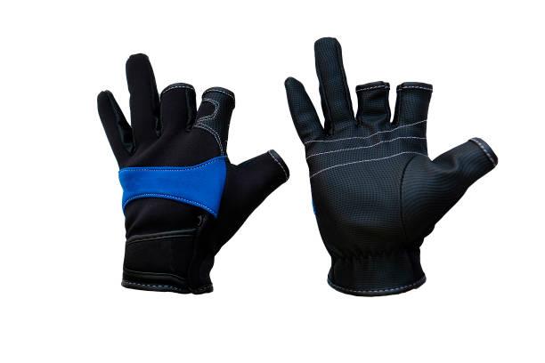 paar handschoenen voor de jacht en vissen op een witte achtergrond - foto's van hands stockfoto's en -beelden