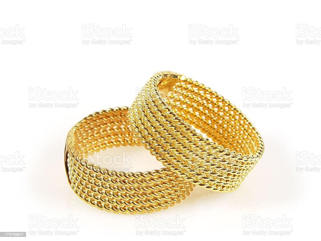 Pair of gold wedding rings stock photo